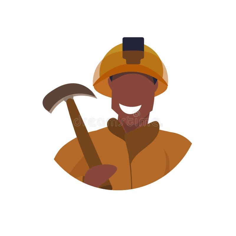 Homem feliz do avatar masculino da cara da picareta da terra arrendada do mineiro no trabalhador profissional uniforme alaranjado ilustração do vetor