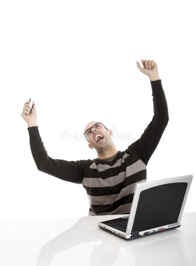 Homem feliz do buziness fotografia de stock royalty free