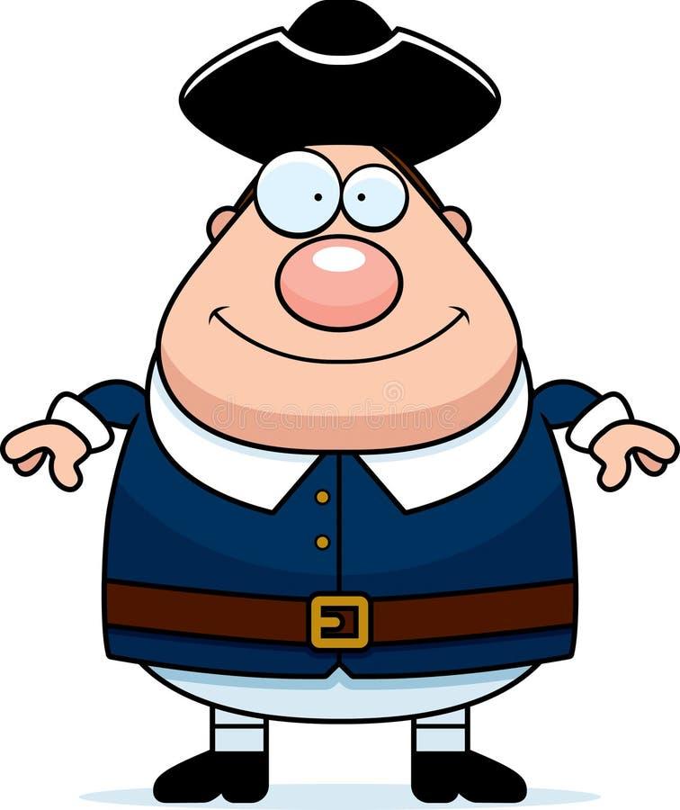 Homem feliz do Colonial dos desenhos animados ilustração stock