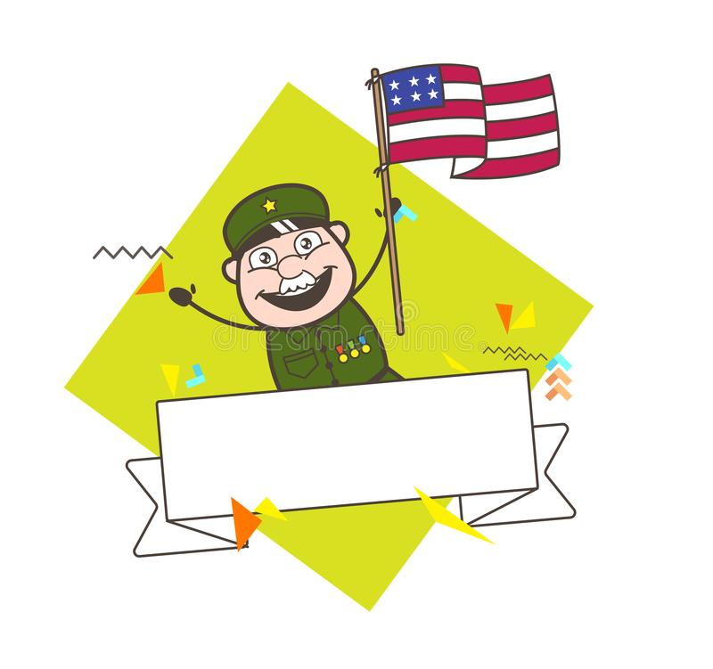 Homem feliz do exército com ilustração do vetor da bandeira dos E.U. ilustração do vetor