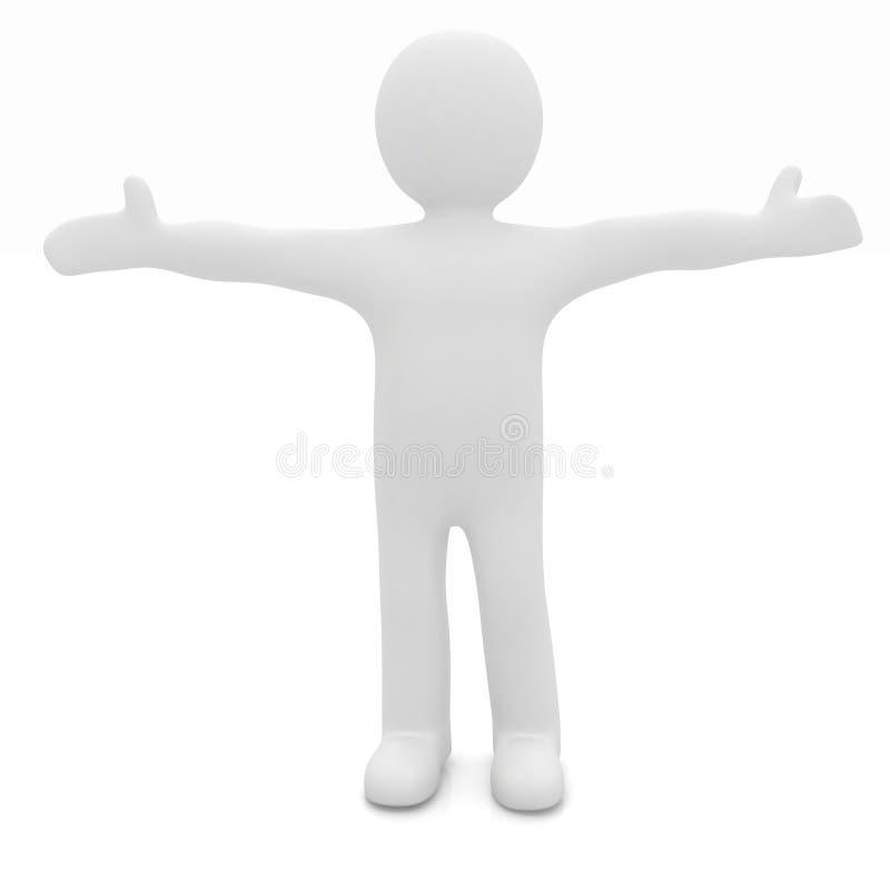 homem feliz do homem 3D com mãos largamente abertas ilustração stock