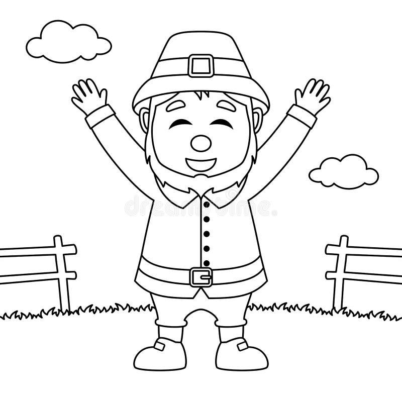 Homem feliz do peregrino da ação de graças da coloração ilustração stock