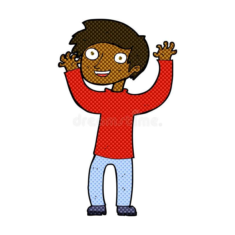homem feliz dos desenhos animados cômicos ilustração royalty free