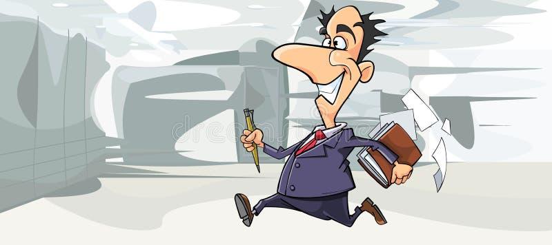 Homem feliz dos desenhos animados no terno que corre no escritório ilustração do vetor