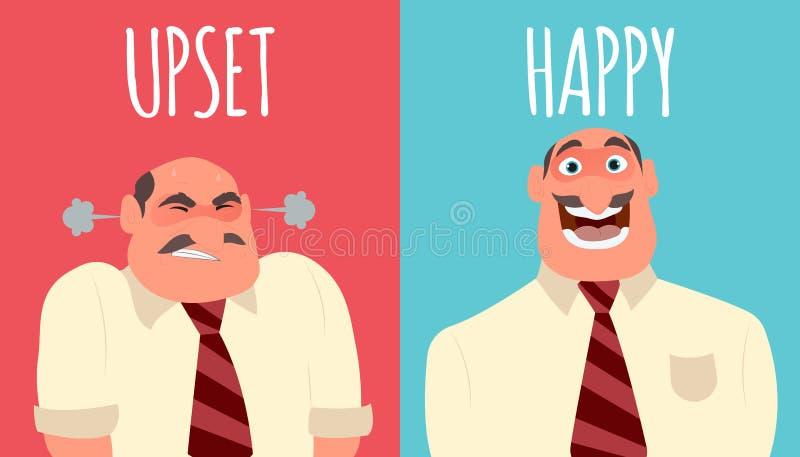 Homem feliz e irritado ilustração stock