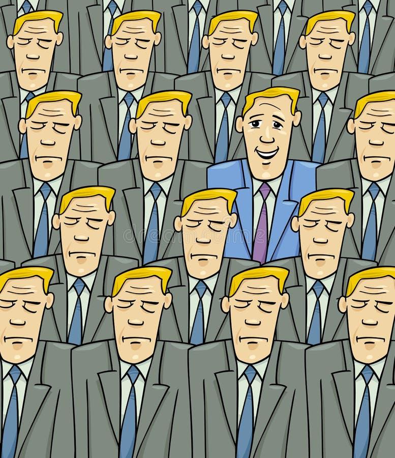 Homem feliz na multidão triste ilustração do vetor