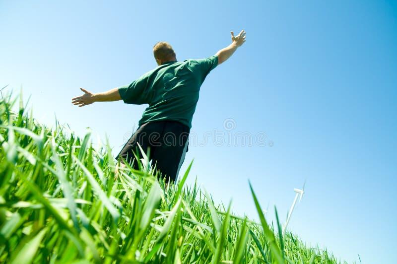 Homem feliz no campo do verão fotos de stock royalty free