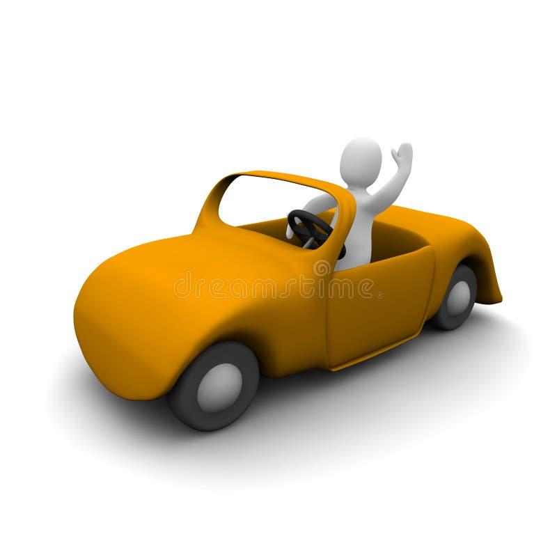 Homem feliz no carro do cabriolet ilustração royalty free