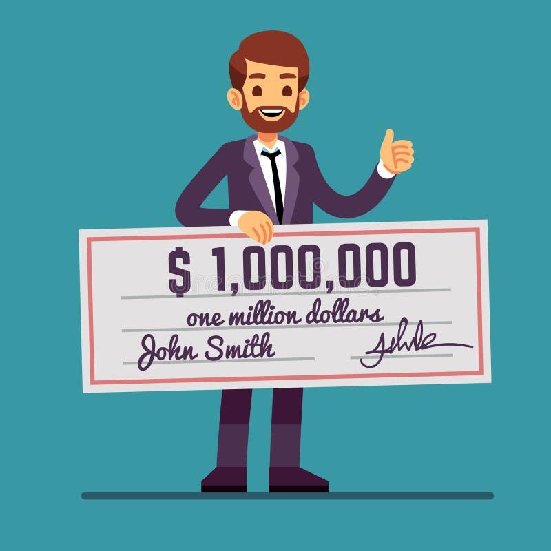 Homem feliz novo que guarda a verificação premiada do dinheiro para um milhão de dólares Lucro da loteria do dinheiro e conceito  ilustração do vetor