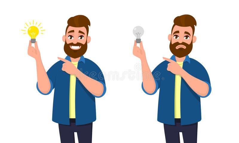 Homem feliz que guarda o bulbo brilhante e que aponta o indicador a ele Homem infeliz que guarda o bulbo maçante e que aponta a e ilustração royalty free