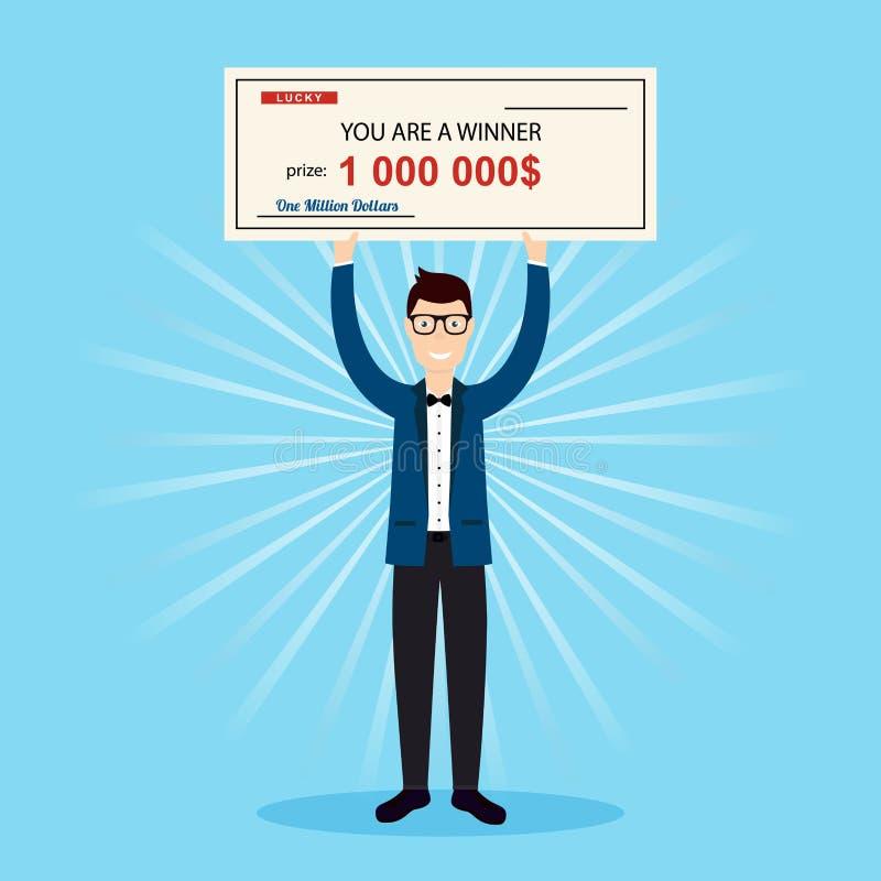 Homem feliz que guarda uma grande verificação de um milhão de dólares nas mãos ilustração stock