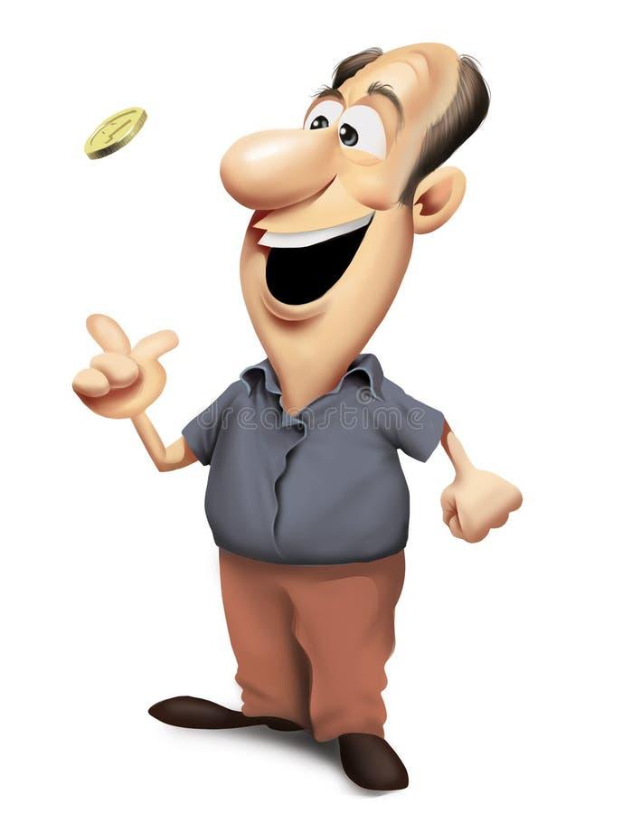 Homem feliz que lanç uma moeda ilustração stock