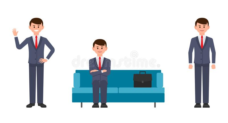 Homem feliz que senta-se no sofá azul com mãos cruzadas, ondulação e sorriso Ilustração do vetor de homens de negócios do persona ilustração royalty free