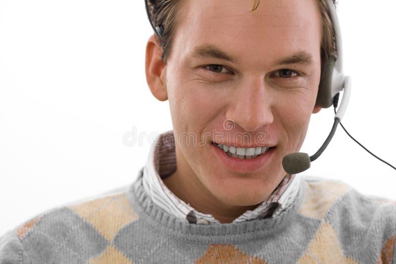 Homem feliz - serviço de atenção a o cliente fotografia de stock royalty free