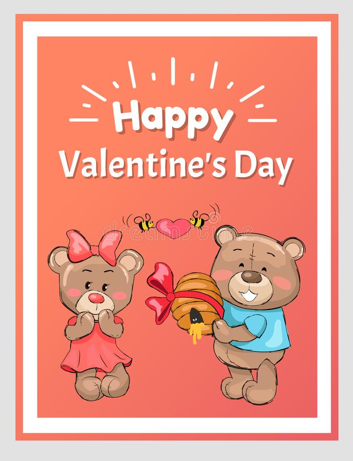 Homem feliz Teddy Bear Holds Hive Honey dos Valentim ilustração royalty free