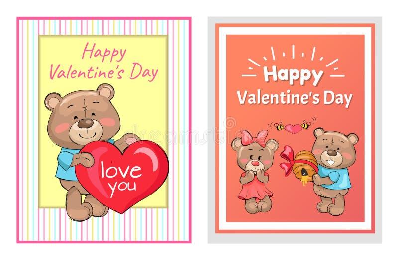 Homem feliz Teddy Bear Holds Hive Honey dos Valentim ilustração stock