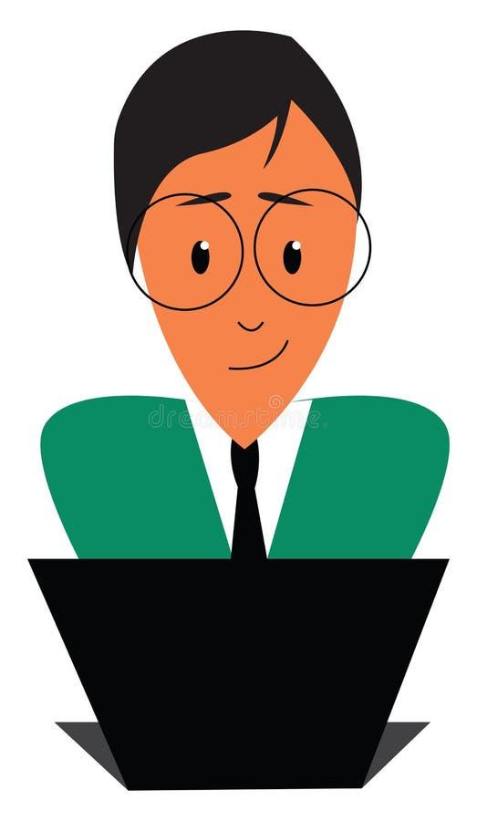 Homem feliz trabalhando em seu vetor de impressão de ilustração de laptop ilustração royalty free