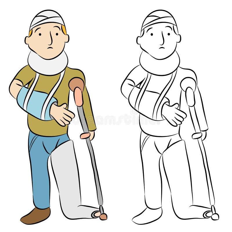 Homem ferido ilustração do vetor