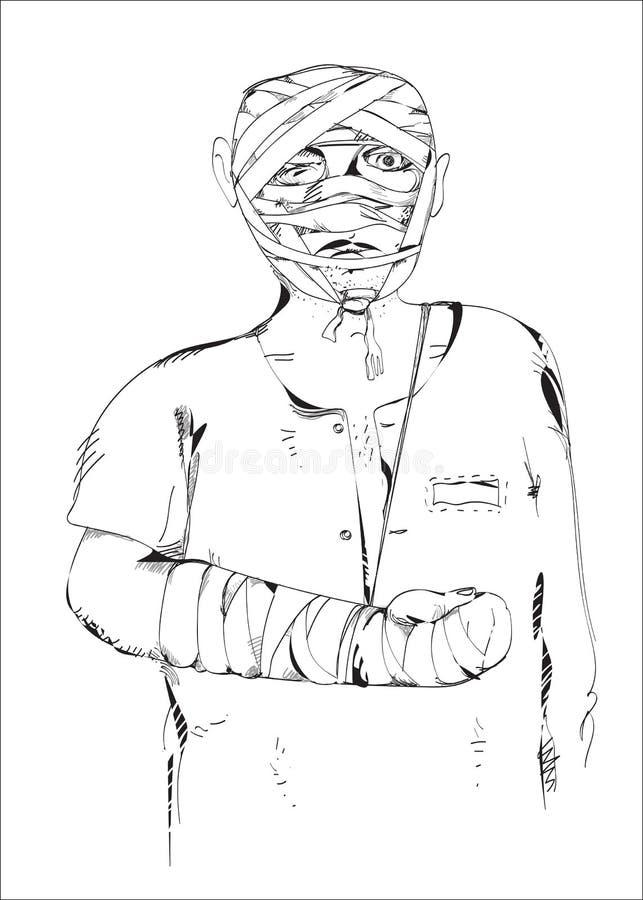Homem ferido ilustração royalty free