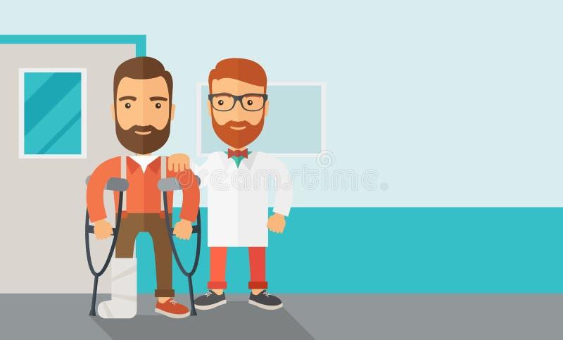 Homem ferido ajudado por um doutor ilustração royalty free