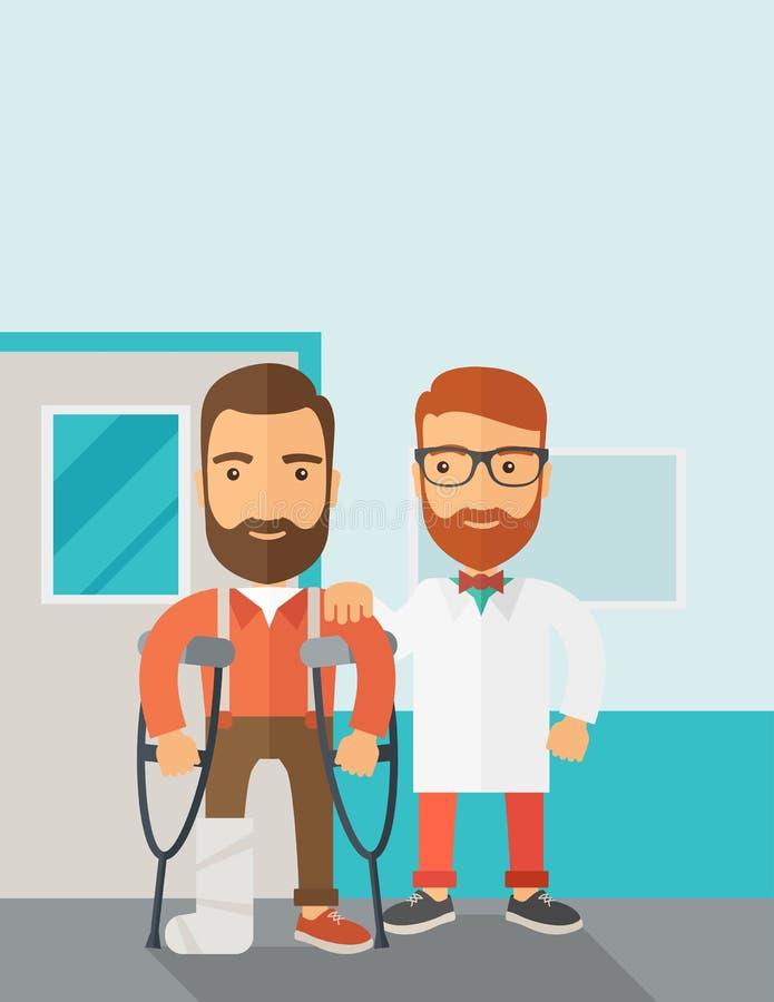 Homem ferido ajudado por um doutor ilustração stock