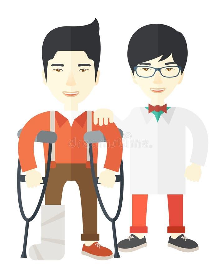 Homem ferido com doutor ilustração do vetor