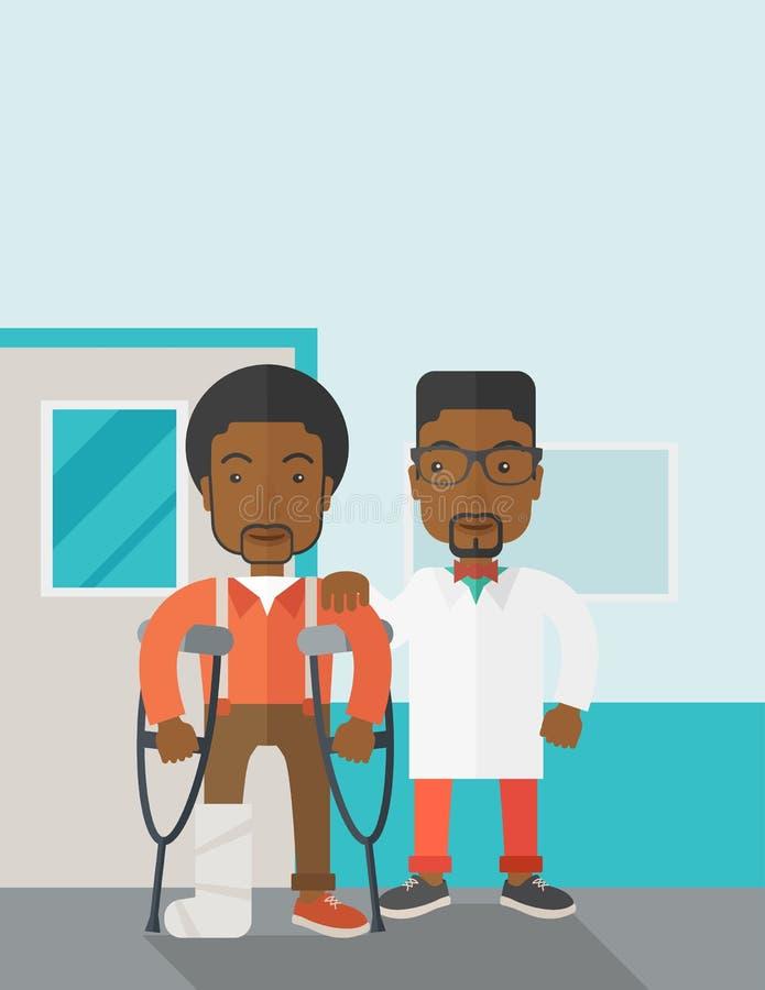 Homem ferido com doutor ilustração royalty free