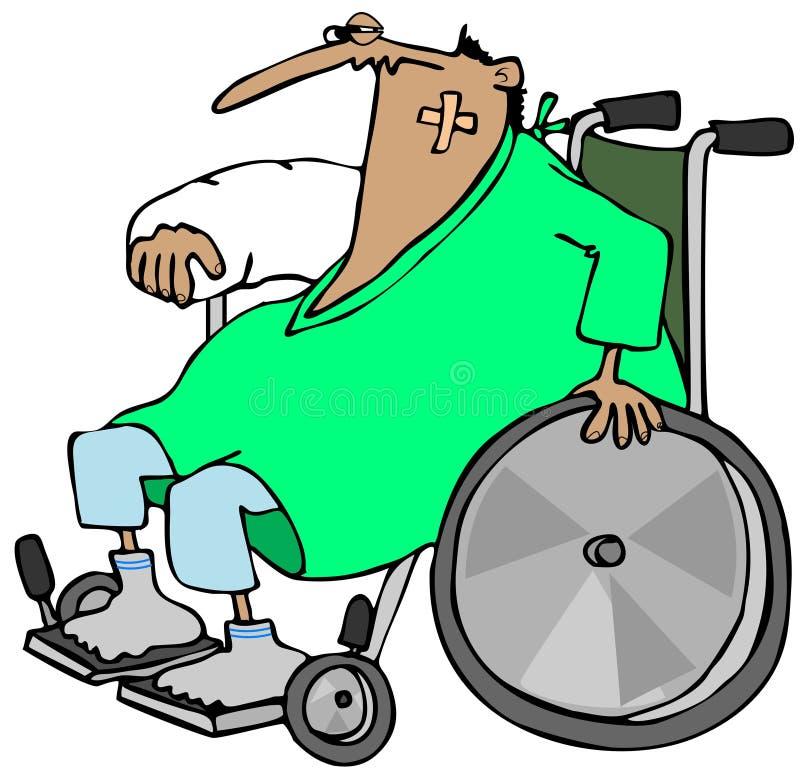 Homem ferido em uma cadeira de rodas ilustração do vetor
