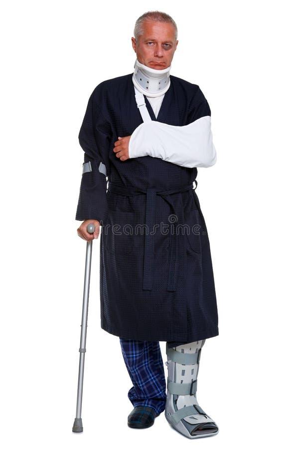 Homem ferido isolado no branco fotos de stock royalty free