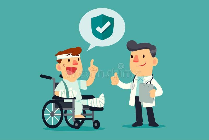 Homem ferido na cadeira de rodas com cobertura de seguro que fala com d ilustração stock