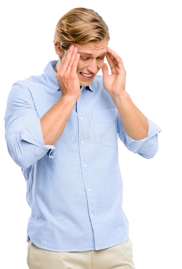Homem forçado que sofre da dor de cabeça isolada no backgroun branco fotografia de stock