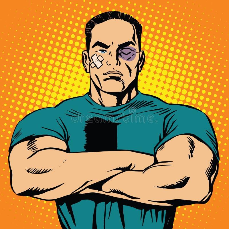 Homem forte após uma luta ilustração do vetor