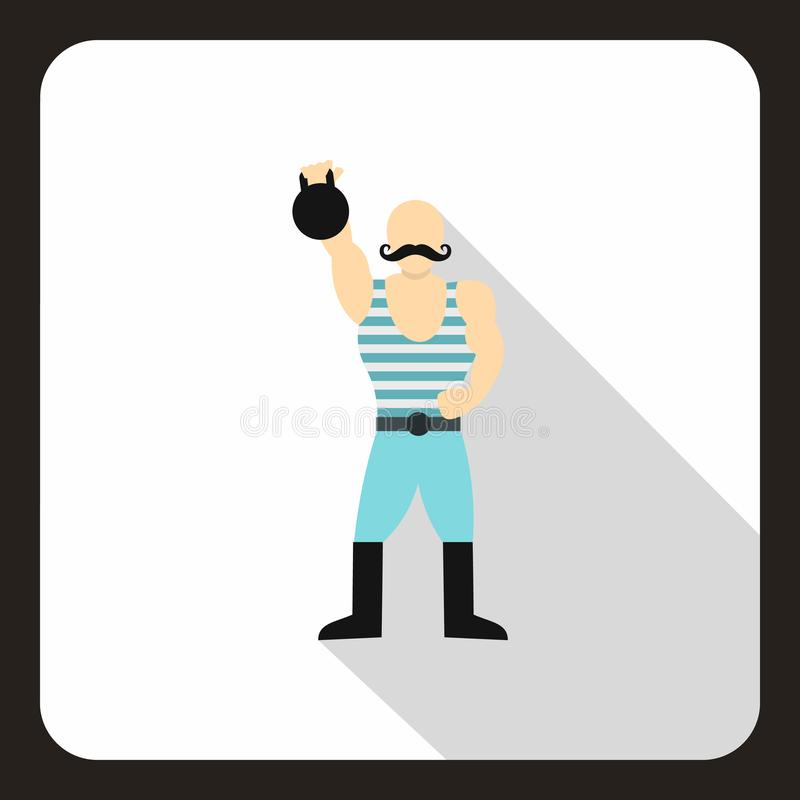 Homem forte com ícone do kettlebell, estilo liso ilustração stock