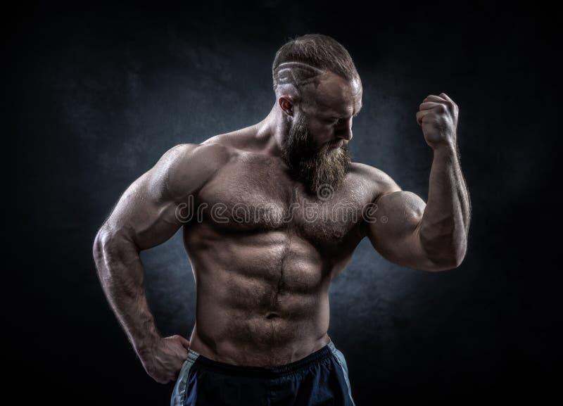 Homem forte com Abs, os ombros, o bíceps, o tríceps e ches perfeitos imagens de stock