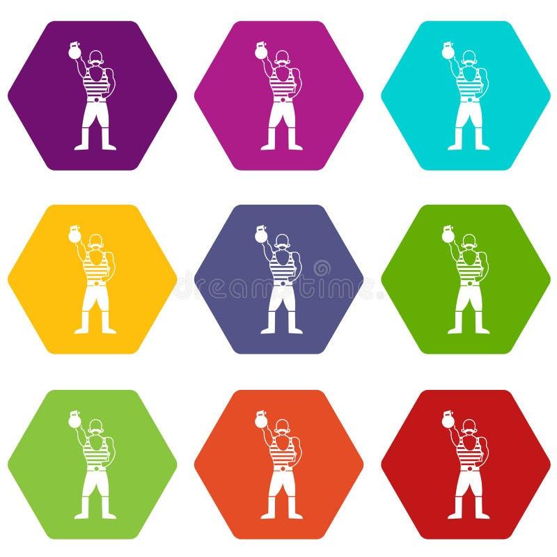 Homem forte com hexahedron ajustado da cor do ícone do kettlebell ilustração stock