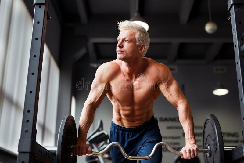 Homem forte com o corpo muscular que dá certo no gym Exercício do peso com o barbell no clube de aptidão foto de stock royalty free