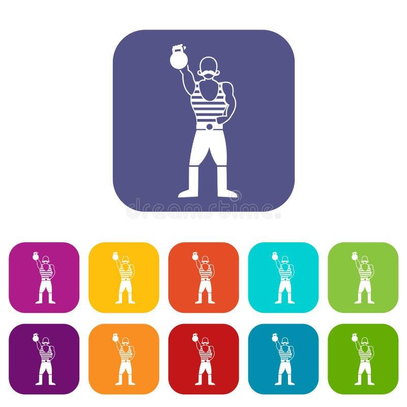 Homem forte com os ícones do kettlebell ajustados ilustração stock