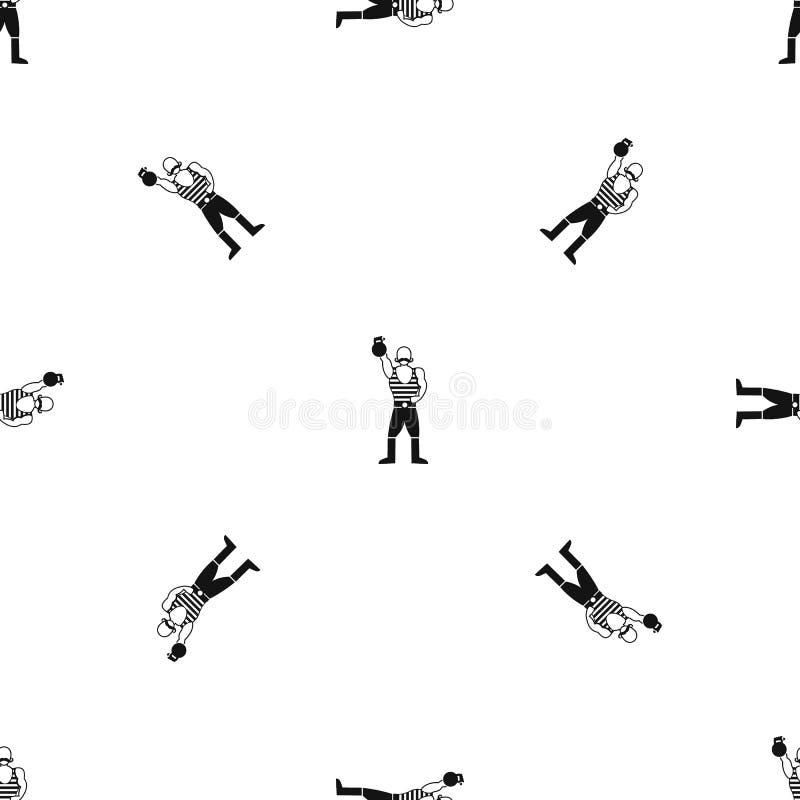Homem forte com preto sem emenda do teste padrão do kettlebell ilustração royalty free