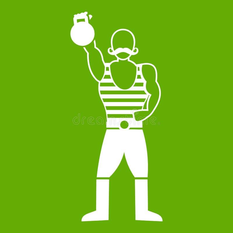 Homem forte com verde do ícone do kettlebell ilustração do vetor