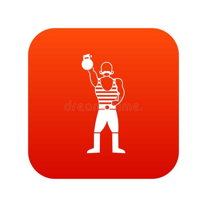 Homem forte com vermelho digital do ícone do kettlebell ilustração do vetor