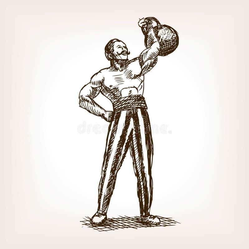 Homem forte com vetor do esboço do kettlebell ilustração royalty free