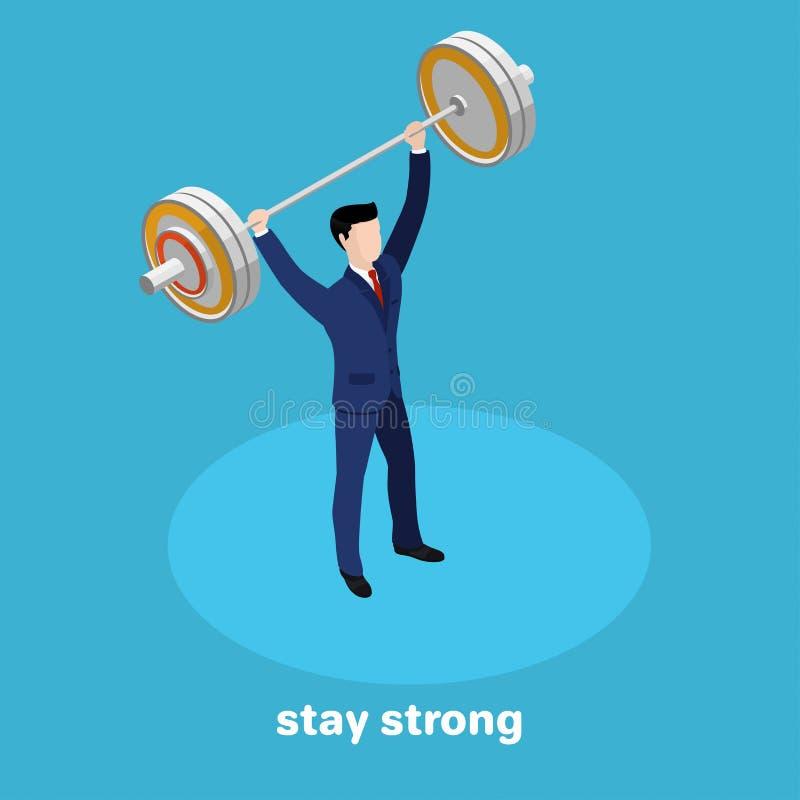 Homem forte no terno de negócio com um barbell à disposição em um fundo azul ilustração stock