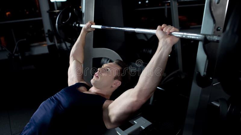Homem forte que faz a imprensa de banco do barbell no gym, programa pessoal do halterofilismo imagens de stock royalty free