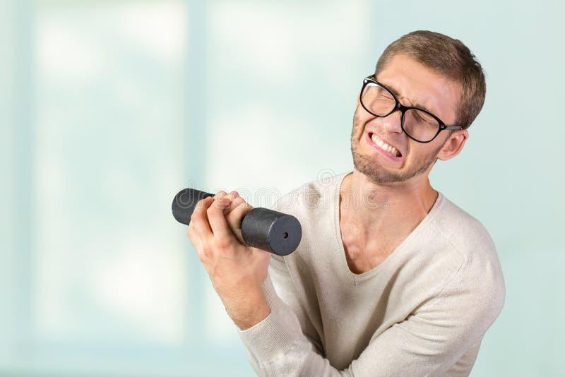 Homem fraco engraçado fotografia de stock
