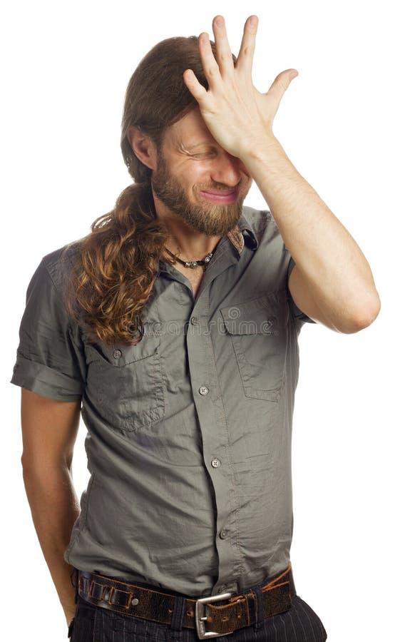 Homem frustrante e virado imagem de stock royalty free