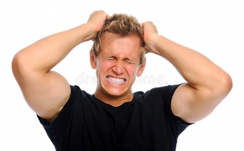 Homem frustrante isolado no branco imagens de stock