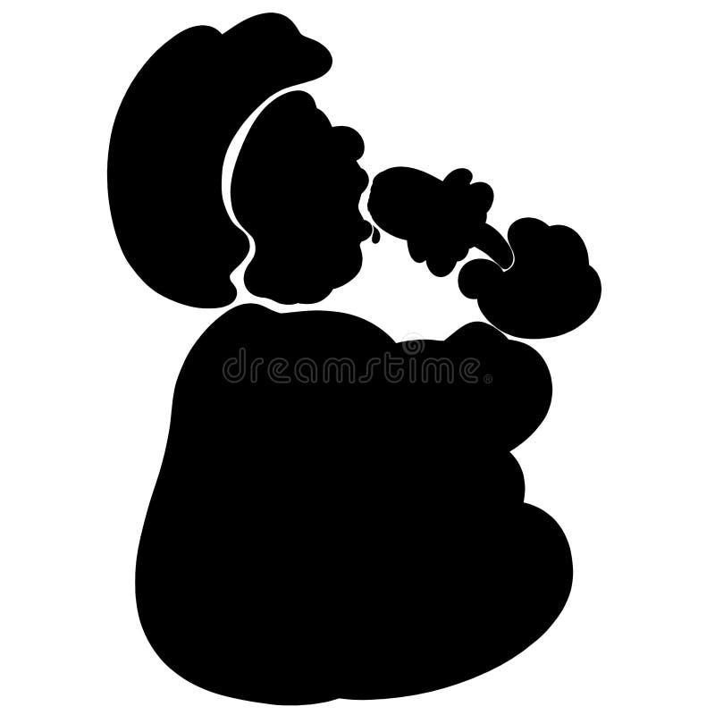 Homem gordo com um apetite que come o gelado, silhueta preta ilustração stock