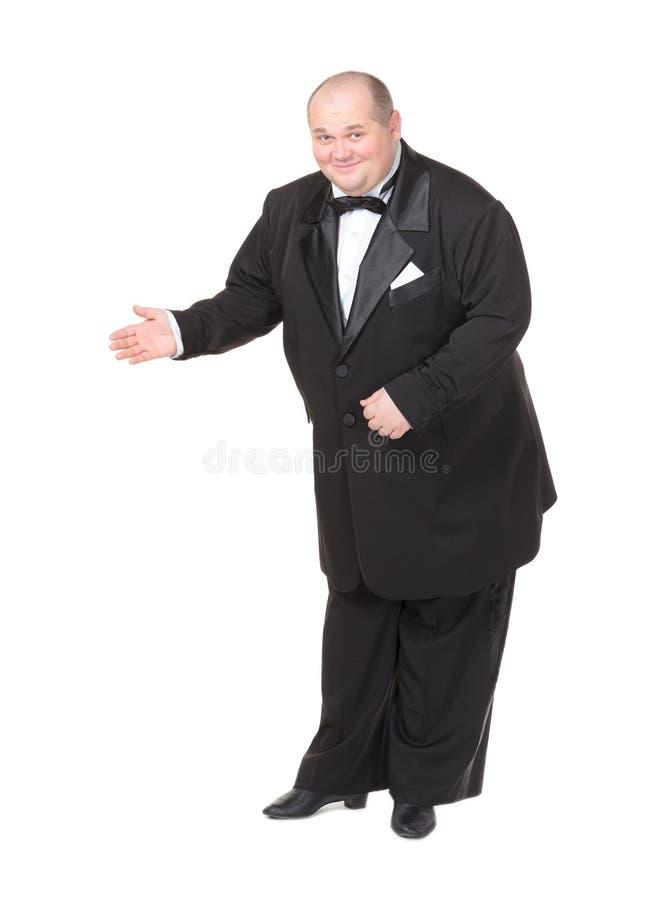 Homem gordo elegante em apontar do laço fotografia de stock royalty free