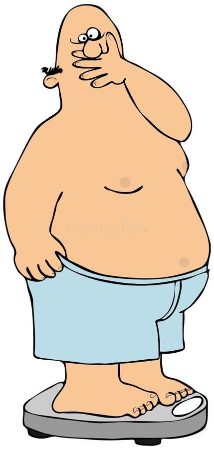 Homem gordo em escalas ilustração stock