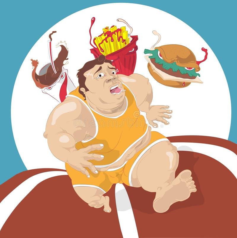 Homem gordo que corre longe do fast food ilustração do vetor
